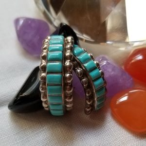 Zuni SS turquoise half hoop earrings